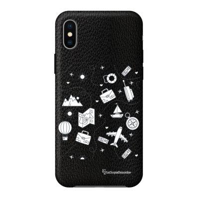 Coque iPhone X/Xs effet cuir grainé noir Aventure Design La Coque Francaise