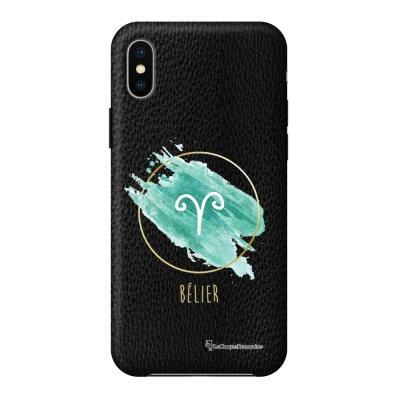 Coque iPhone X/Xs effet cuir grainé noir Bélier Design La Coque Francaise