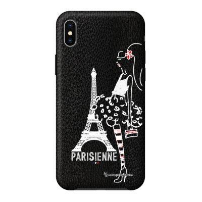 Coque iPhone Xs Max effet cuir grainé noir Parisienne Design La Coque Francaise