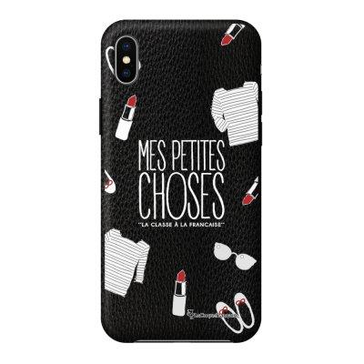 Coque iPhone Xs Max effet cuir grainé noir Mes Petites Choses Design La Coque Francaise