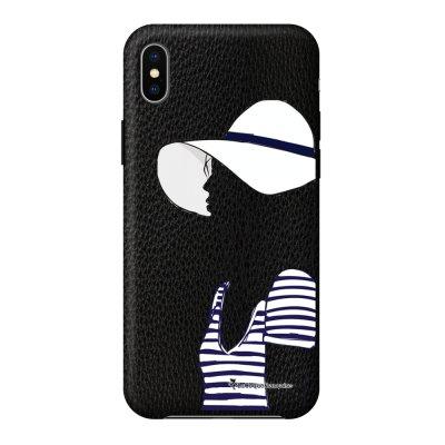 Coque iPhone Xs Max effet cuir grainé noir Marinière 2016 Design La Coque Francaise