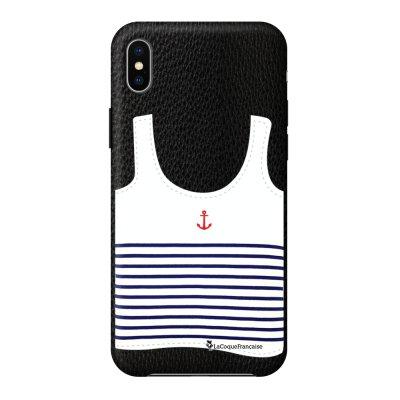 Coque iPhone Xs Max effet cuir grainé noir Le Francais Design La Coque Francaise