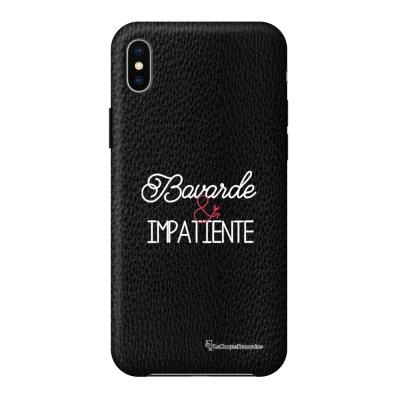 Coque iPhone Xs Max effet cuir grainé noir Bavarde et impatiente Design La Coque Francaise