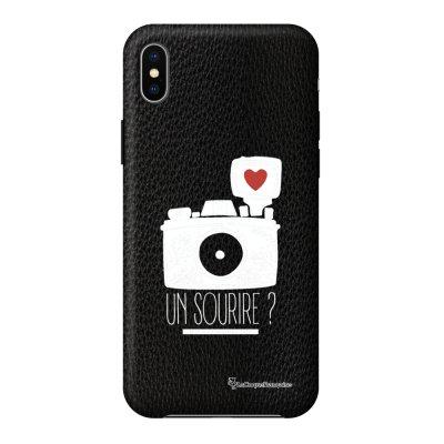 Coque iPhone Xs Max effet cuir grainé noir Un sourire Design La Coque Francaise