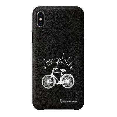 Coque iPhone Xs Max effet cuir grainé noir Bicyclette Design La Coque Francaise