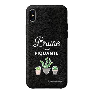 Coque iPhone Xs Max effet cuir grainé noir Brune mais piquante Design La Coque Francaise