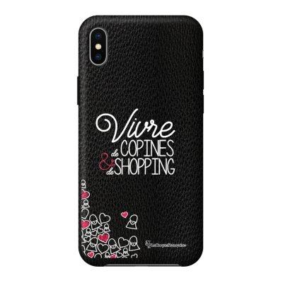 Coque iPhone Xs Max effet cuir grainé noir Vivre de copines Design La Coque Francaise
