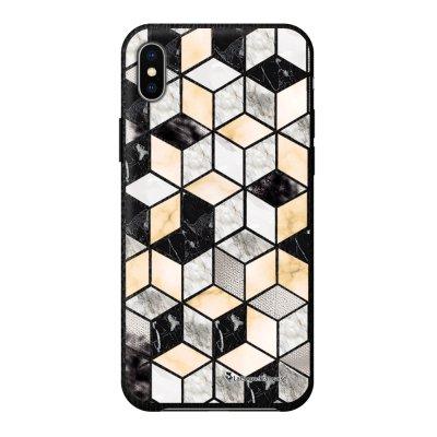 Coque iPhone Xs Max effet cuir grainé noir Carrés marbre Design La Coque Francaise