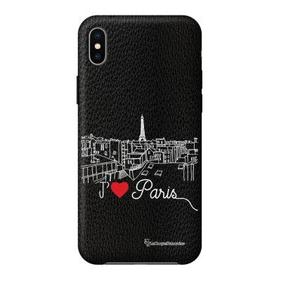 Coque iPhone Xs Max effet cuir grainé noir J'aime Paris Design La Coque Francaise
