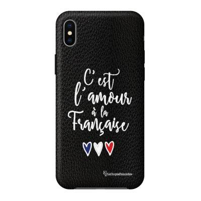 Coque iPhone Xs Max effet cuir grainé noir C'est l'amour Design La Coque Francaise