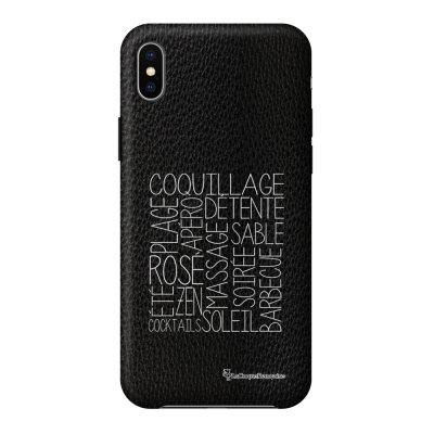 Coque iPhone Xs Max effet cuir grainé noir Les mots de l'été Design La Coque Francaise