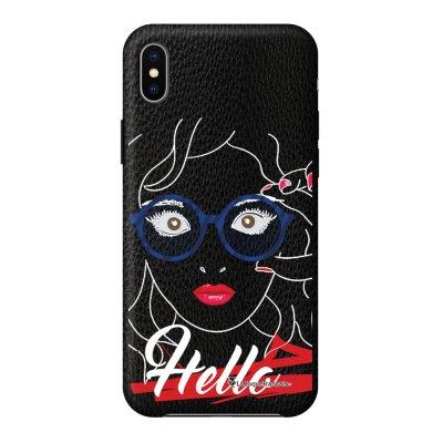 Coque iPhone Xs Max effet cuir grainé noir Hello Design La Coque Francaise