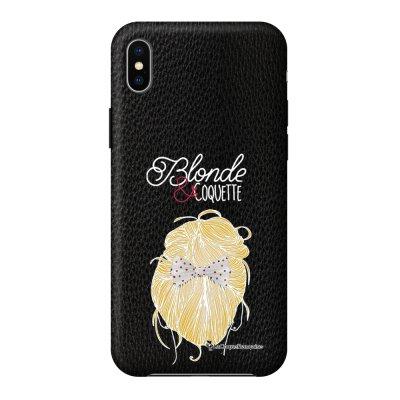 Coque iPhone Xs Max effet cuir grainé noir Blonde et coquette Design La Coque Francaise