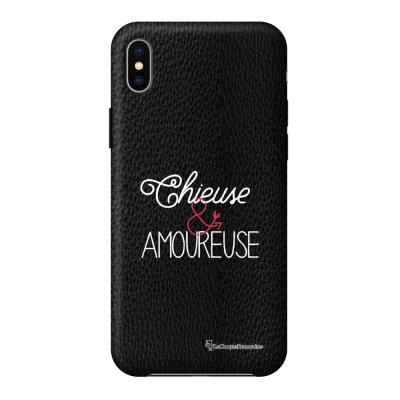 Coque iPhone Xs Max effet cuir grainé noir Chieuse et Amoureuse Design La Coque Francaise