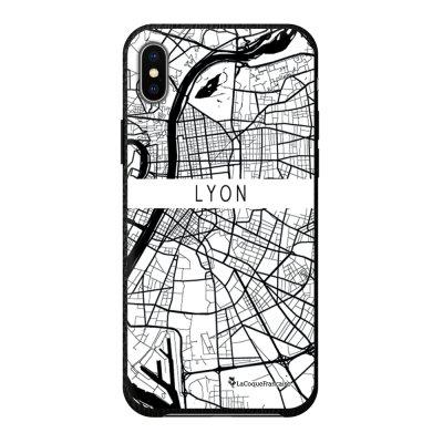 Coque iPhone Xs Max effet cuir grainé noir Carte de Lyon Design La Coque Francaise
