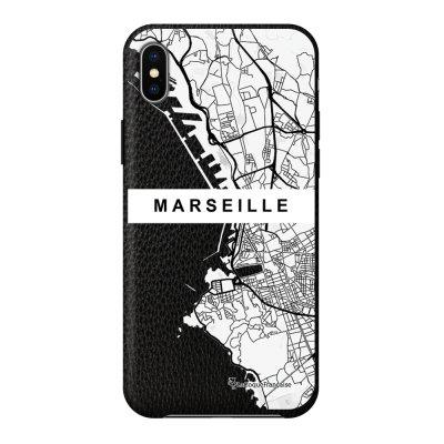 Coque iPhone Xs Max effet cuir grainé noir Carte de Marseille Design La Coque Francaise