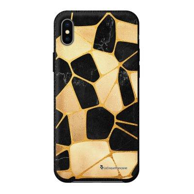 Coque iPhone Xs Max effet cuir grainé noir Or Noir Design La Coque Francaise