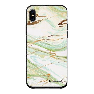 Coque iPhone Xs Max effet cuir grainé noir Marbre Vert Design La Coque Francaise