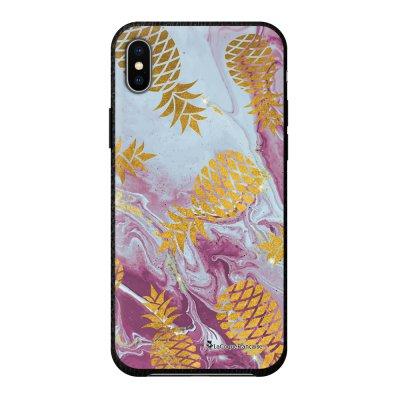 Coque iPhone Xs Max effet cuir grainé noir Marbre Ananas Or Design La Coque Francaise