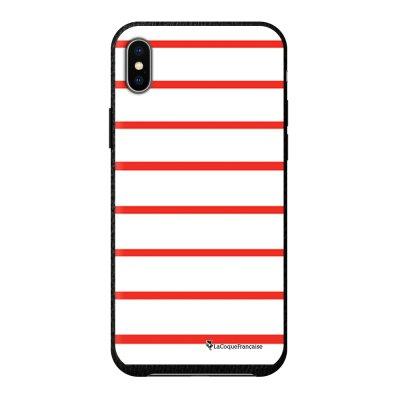 Coque iPhone Xs Max effet cuir grainé noir Marinière Rouge Design La Coque Francaise