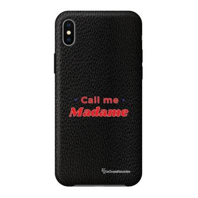 Coque iPhone Xs Max effet cuir grainé noir Call Me Madame Design La Coque Francaise