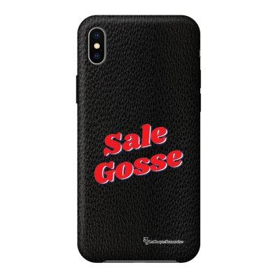 Coque iPhone Xs Max effet cuir grainé noir Sale Gosse Rouge Design La Coque Francaise