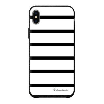 Coque iPhone Xs Max effet cuir grainé noir Marinière Noire Design La Coque Francaise