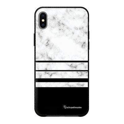 Coque iPhone Xs Max effet cuir grainé noir Trio marbre Blanc Design La Coque Francaise
