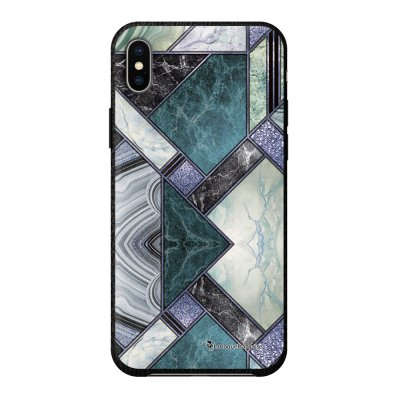 Coque iPhone Xs Max effet cuir grainé noir Marbre Bleu Vert Design La Coque Francaise