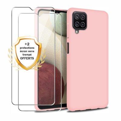 Coque Samsung Galaxy A12 Silicone liquide Rose + 2 Vitres en Verre trempé Protection écran Antichocs