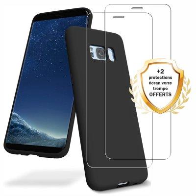 Coque Samsung Galaxy S8 Silicone liquide Noire + 2 Vitres en Verre trempé Protection écran Antichocs
