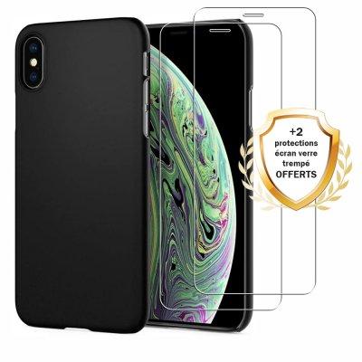 Coque iPhone X/XS Silicone liquide Noire + 2 Vitres en Verre trempé Protection écran Antichocs