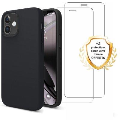 Coque iPhone 12 Mini Silicone liquide Noire + 2 Vitres en Verre trempé Protection écran Antichocs