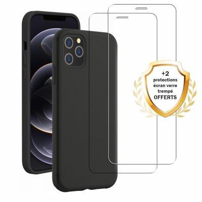 Coque iPhone 12/12 Pro Silicone liquide Noire + 2 Vitres en Verre trempé Protection écran Antichocs