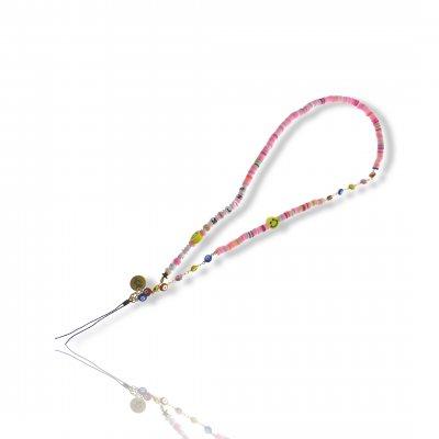 Bijoux de téléphone à accrocher à votre coque I am Smiling perles roses - longueur 61 cm