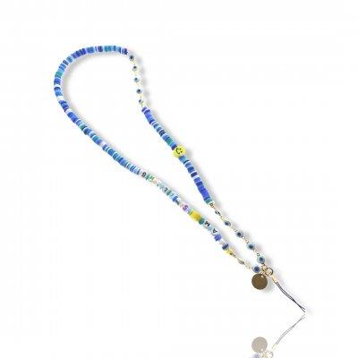 Bijoux de téléphone à accrocher à votre  coque I am Smiling perles bleues - longueur 61 cm