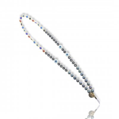 Bijoux de téléphone à accrocher à votre coque Make it fashion perles noires - longueur 61 cm