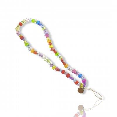 Bijoux de téléphone à accrocher à votre coque  perles multicolores - longueur 28 cm