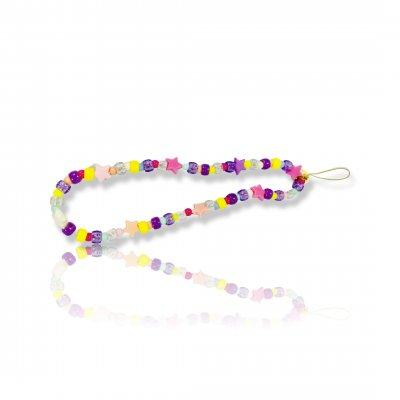 Bijoux de téléphone à accrocher à votre coque  perles étoiles multicolores - longueur 28 cm