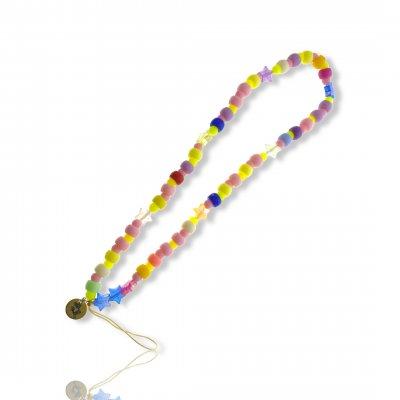 Bijoux de téléphone à accrocher à votre coque  perles étoiles pastels - longueur 28 cm