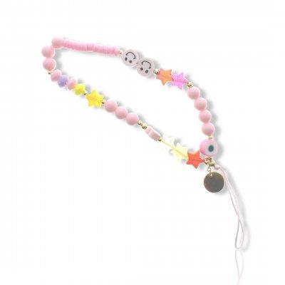 Bijoux de téléphone à accrocher à votre coque  perles roses- longueur 28 cm