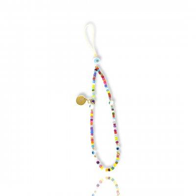 Bijoux de téléphone à accrocher à votre coque  perles multicolors avec oeil - longueur 28 cm