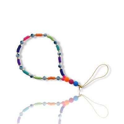 Bijoux de téléphone à accrocher à votre coque rang de perles colorées - longueur 28 cm