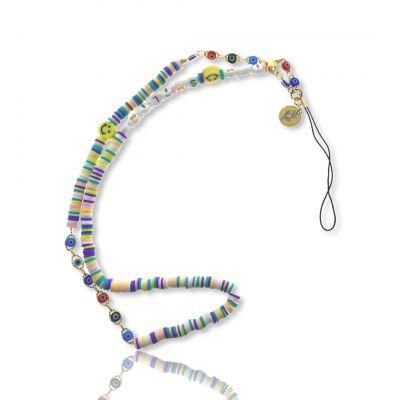 Bijoux de téléphone à accrocher à votre coque I am Smiling perles pastels - longueur 61 cm
