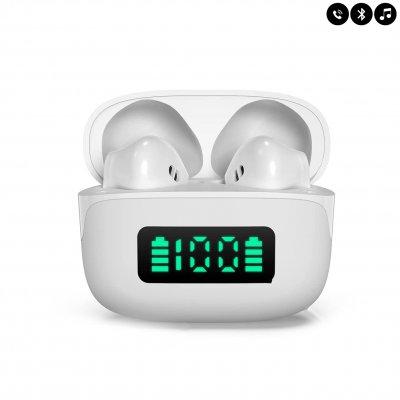 Ecouteurs Bluetooth avec affichage LED -Blanc