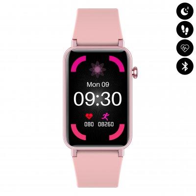 Montre connectée Bluetooth avec écran 1.57, étanchéité IP68, moniteur de fréquence cardiaque et d'oxygène dans le sang - Rose