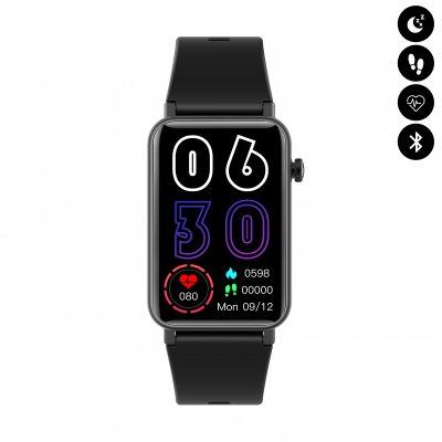 Montre connectée Bluetooth avec écran 1.57, étanchéité IP68, moniteur de fréquence cardiaque et d'oxygène dans le sang - Noir