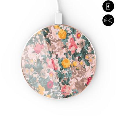 Chargeur Induction contour gold blanc Fleurs Beige et Rose La Coque Francaise