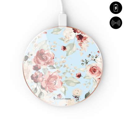 Chargeur Induction contour gold blanc Roses Rouges La Coque Francaise