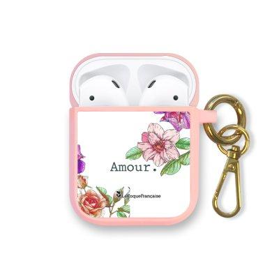 Housse pour Airpods silicone liquide rose Amour en fleurs Motif Ecriture Tendance La Coque Francaise